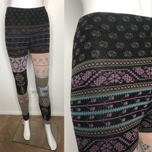 Free People Purple Floral Sweater Leggings XS S